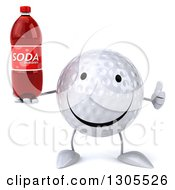 Clipart Of A 3d Happy Golf Ball Character Giving A Thumb Up And Holding A Soda Bottle Royalty Free Illustration