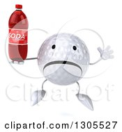 Clipart Of A 3d Unhappy Golf Ball Character Jumping And Holding A Soda Bottle Royalty Free Illustration