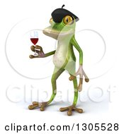 Clipart Of A 3d French Frog Facing Left And Holding Red Wine Royalty Free Illustration