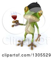 Clipart Of A 3d French Frog Looking Up And Holding Red Wine Royalty Free Illustration by Julos