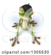 Clipart Of A 3d French Frog Sitting Back And Looking Up Royalty Free Illustration by Julos