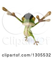 Clipart Of A 3d French Frog Leaping Royalty Free Illustration by Julos