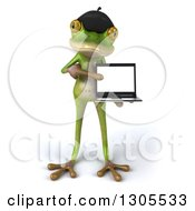 Clipart Of A 3d French Frog Holding And Pointing To A Blank Screen On A Laptop Royalty Free Illustration by Julos