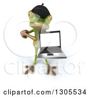 Clipart Of A 3d French Frog Holding Up And Pointing To A Blank Screen On A Laptop Royalty Free Illustration by Julos