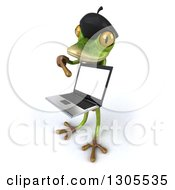 Clipart Of A 3d French Frog Facing Left Holding And Pointing To A Blank Screen On A Laptop Royalty Free Illustration by Julos