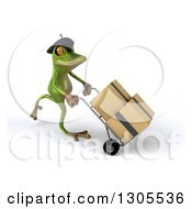 Clipart Of A 3d French Frog Walking To The Right And Moving Boxes On A Dolly Royalty Free Illustration by Julos