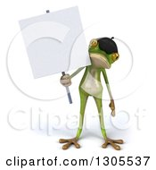 Clipart Of A 3d French Frog Holding A Blank Sign Royalty Free Illustration by Julos