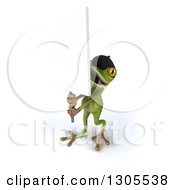Clipart Of A 3d French Frog Protestor Holding Up A Blank Sign Royalty Free Illustration