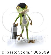 Clipart Of A 3d French Frog Businessman Walking Royalty Free Illustration by Julos
