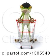 Clipart Of A 3d French Frog Pushing An Empty Shopping Cart Royalty Free Illustration by Julos
