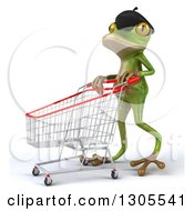 Clipart Of A 3d French Frog Walking To The Left And Pushing An Empty Shopping Cart Royalty Free Illustration by Julos