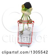 Clipart Of A 3d French Frog Looking Up And Pushing An Empty Shopping Cart Royalty Free Illustration by Julos