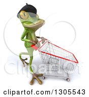 Clipart Of A 3d French Frog Walking To The Right And Pushing An Empty Shopping Cart Royalty Free Illustration by Julos
