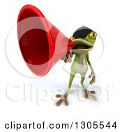Clipart Of A 3d French Frog Announcing Upwards With A Megaphone Royalty Free Illustration by Julos