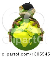 Clipart Of A 3d French Frog Hugging Planet Earth Royalty Free Illustration