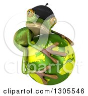 Clipart Of A 3d French Frog Facing Right And Hugging Planet Earth Royalty Free Illustration