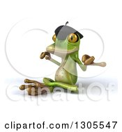 Clipart Of A 3d French Frog Facing Left And Meditating Royalty Free Illustration by Julos
