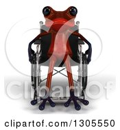 Clipart Of A 3d Disabled Red Springer Frog Sitting In A Wheelchair Royalty Free Illustration
