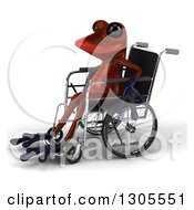 Clipart Of A 3d Disabled Red Springer Frog Facing Left And Sitting In A Wheelchair Royalty Free Illustration