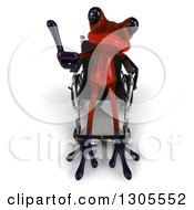 Clipart Of A 3d Disabled Red Springer Frog Sitting In A Wheelchair And Holding Up A Thumb Royalty Free Illustration