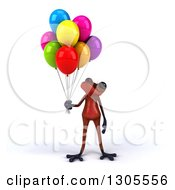 Clipart Of A 3d Red Springer Frog Holding And Looking Up At Party Balloons Royalty Free Illustration
