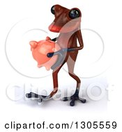 Clipart Of A 3d Red Springer Frog Walking To The Left With A Piggy Bank Royalty Free Illustration