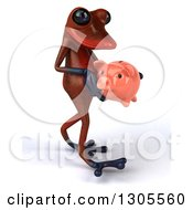 Clipart Of A 3d Red Springer Frog Walking To The Right With A Piggy Bank Royalty Free Illustration