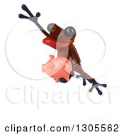 Clipart Of A 3d Red Springer Frog Jumping To The Left With A Piggy Bank Royalty Free Illustration