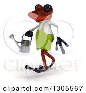 Clipart Of A 3d Red Gardener Springer Frog Walking To The Left With A Watering Can Royalty Free Illustration by Julos