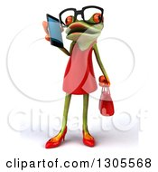 Clipart Of A 3d Bespectacled Green Female Springer Frog Talking On A Smart Cell Phone Royalty Free Illustration