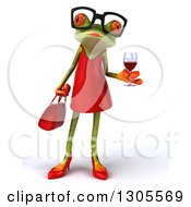 Clipart Of A 3d Bespectacled Green Female Springer Frog Holding A Glass Of Red Wine Royalty Free Illustration by Julos