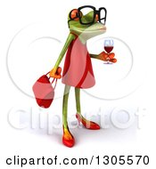 Clipart Of A 3d Bespectacled Green Female Springer Frog Facing Right And Holding A Glass Of Red Wine Royalty Free Illustration by Julos