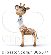 Clipart Of A 3d Bespectacled Doctor Or Veterinarian Giraffe Looking At The Viewer And Facing Left Royalty Free Illustration