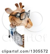 Clipart Of A 3d Bespectacled Doctor Or Veterinarian Giraffe Looking Around A Sign Royalty Free Illustration