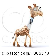 Clipart Of A 3d Bespectacled Doctor Or Veterinarian Giraffe Facing Right And Walking Royalty Free Illustration