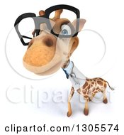 Clipart Of A 3d Bespectacled Doctor Or Veterinarian Giraffe Looking Up Royalty Free Illustration