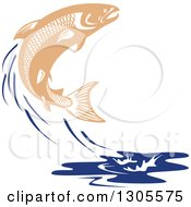 Clipart Of A Leaping Salmon Fish And Blue Water Splash Royalty Free Vector Illustration by patrimonio
