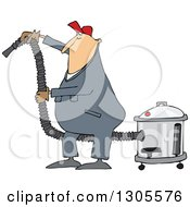 Cartoon Chubby White Worker Man Using A Shop Vacuum