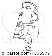 Lineart Clipart Of A Cartoon Black And White Plumber Worker Man Carrying A Water Heater Royalty Free Outline Vector Illustration by Dennis Cox