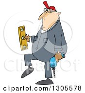 Clipart Of A Cartoon Chubby White Worker Man Carrying A Power Drill And Level Royalty Free Vector Illustration