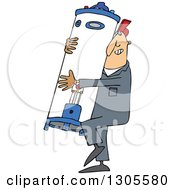 Clipart Of A Cartoon White Plumber Worker Man Carrying A Water Heater Royalty Free Vector Illustration