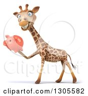 Clipart Of A 3d Giraffe Smiling Facing Left And Holding A Piggy Bank Royalty Free Illustration
