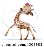 Clipart Of A 3d Female Giraffe Walking To The Left And Laughing Royalty Free Illustration by Julos