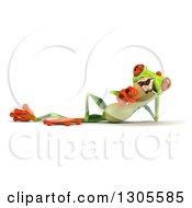Clipart Of A 3d Argie Tree Frog Resting On His Side And Eating A Waffle Ice Cream Cone Royalty Free Illustration