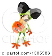 Clipart Of A 3d Argie Tree Frog Wearing Sunglasses Looking Up And Eating A Waffle Ice Cream Cone Royalty Free Illustration
