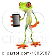 Clipart Of A 3d Argie Tree Frog Holding And Presenting A Smart Cell Phone Royalty Free Illustration