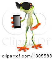 Clipart Of A 3d Argie Tree Frog Wearing Sunglasses Holding And Presenting A Smart Cell Phone Royalty Free Illustration