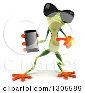 Clipart Of A 3d Argie Tree Frog Wearing Sunglasses Holding And Pointing To A Smart Cell Phone Royalty Free Illustration
