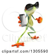 Clipart Of A 3d Argie Tree Frog Wearing Sunglasses Holding And Pointing To A Smart Cell Phone 2 Royalty Free Illustration