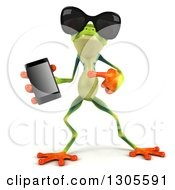 Clipart Of A 3d Argie Tree Frog Wearing Sunglasses Holding And Pointing To A Smart Cell Phone 3 Royalty Free Illustration by Julos